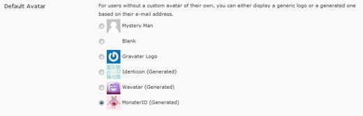 Current WordPress gravatar settings.