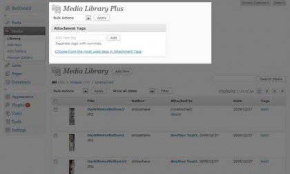 Media Library Plugin Menu.