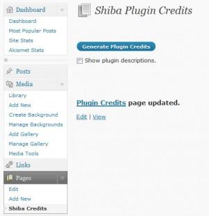 Generate a Plugin Credits Page.