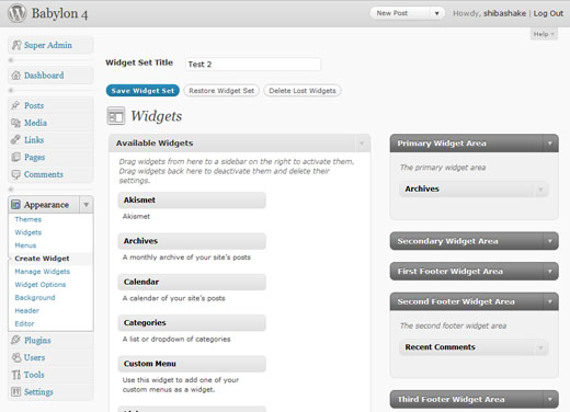 Shiba Widgets Plugin on WordPress 3.0 Multisite.