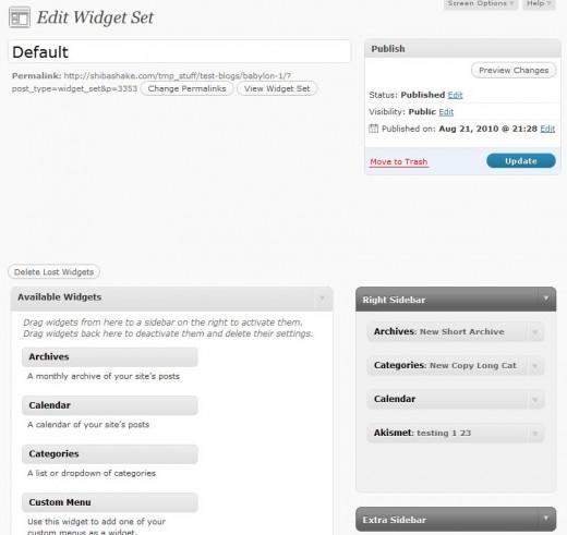 Edit Widget Set Interface.