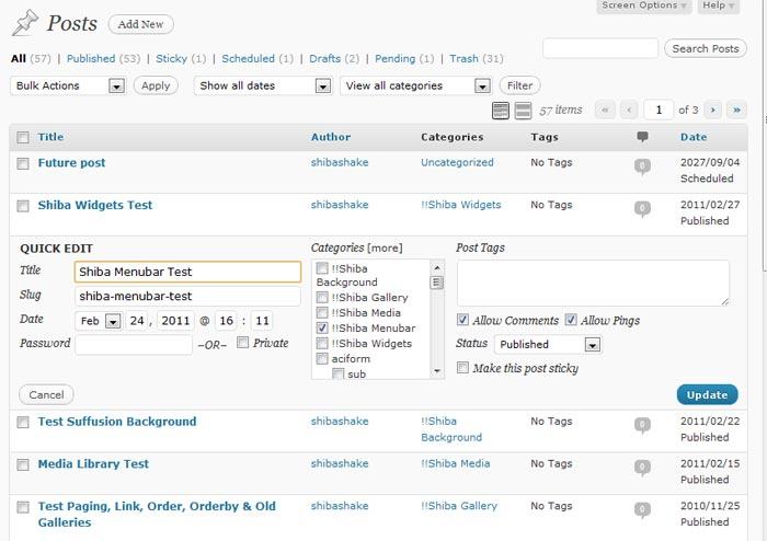 Expand the wordpress quick edit menu for Editing wordpress templates
