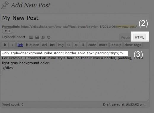 Add Styles within a WordPress Post.