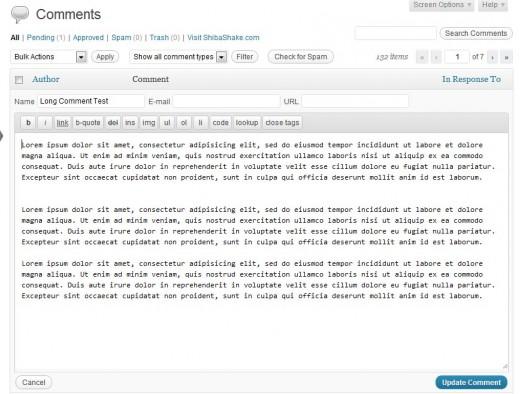 WordPress Comments Quick Edit Menu